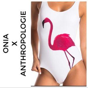 $195 Anthro Onia One Piece Flamingo Swimsuit Large